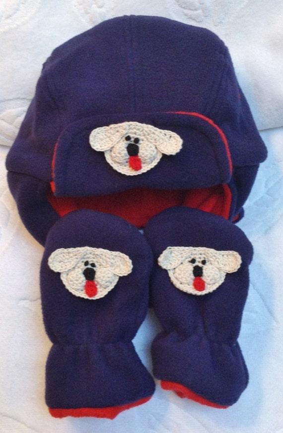 80594d5b87a327 Boys Baby Infant Blue Red Bomber Fleece Hat Mittens Set | Etsy