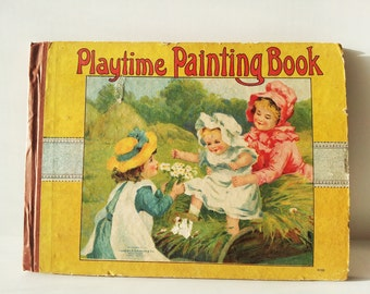 Antique Playtime Painting & Drawing Book for Children - Activity book with blank images for colouring - Charles E Graham and Co