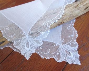 Wedding   Handkerchief  Vintage Hanky Lace  Handkerchief Wedding Accessories  Bridal Hanky.