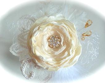 Ivory flower, bridal hair flower, lace flower,hair clip, weddings accessories,bridal hair fascinator, headpiece, pearls, rhinestones.