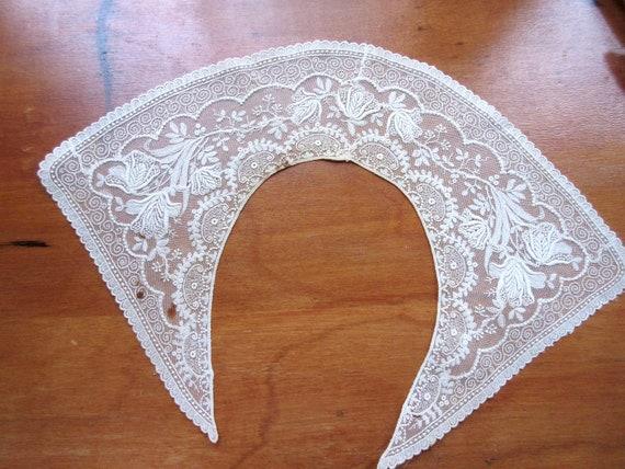 Antique  Collar  Vintage Collar  Embroidered Beig… - image 3