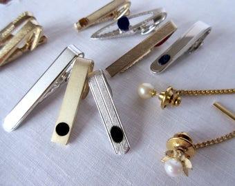 Tie  bars  vintage tie clips  tie accessory mens jewelry wedding tie clips