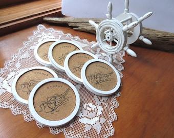 Coasters, Shabby Chic, Coaster Set, Wood Cork Coaster ,  Shabby Chic, Hand Painted