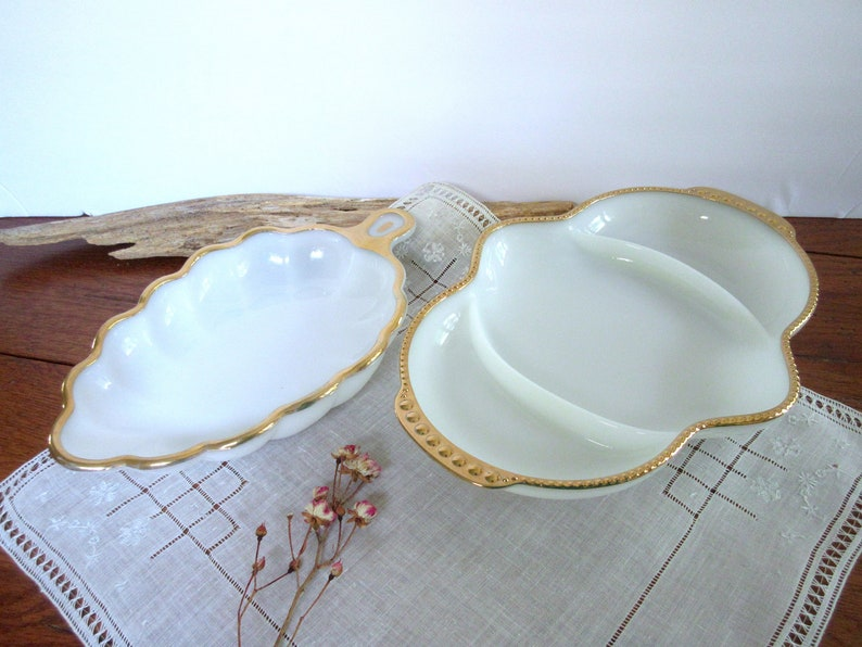 Fire-King Oven Ware Serving Dish White Transferware Serving Dish Oval Vegetable Bowl set of 2.