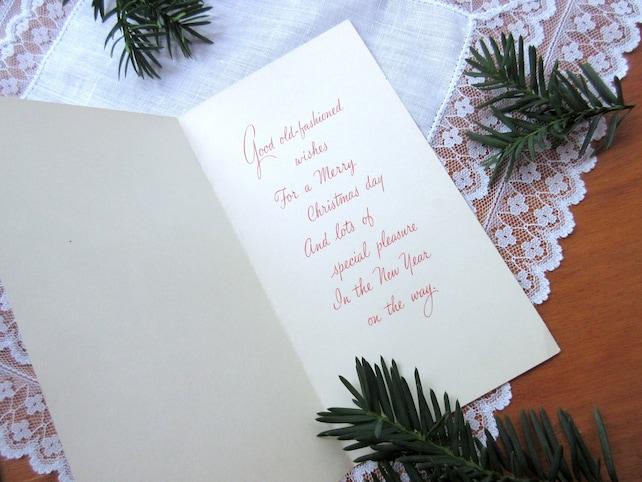vintage christmas card unused greeting card holiday mid century greeting card