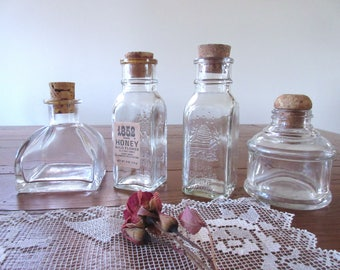 Vintage Bottles , Small Glass Bottles Collection , Clear Glass - set of 4.