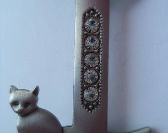 Vintage Signed JJ Silver Pewter/Rhinestone Initial I Cat Brooch/Pin