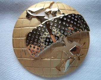 Vintage AJC Signed Goldtone/Matt Heal the World Brooch/Pin