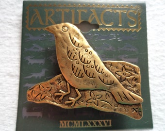 Vintage Signed JJ  Antique Gold Indian Bird Brooch/Pin
