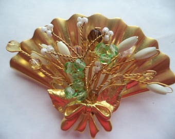 Vintage Unsigned Large Goldtone/Green and White Glass Fan Brooch/Pin 1980s  Statement Piece