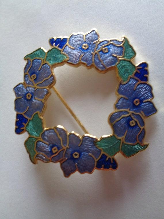 Fabulous Fish Signed Crown Broochpin Cloisonne Vintage Blue Floral And vIbm6yY7gf