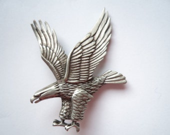 Vintage Signed JJ Silver pewter Eagle Brooch/Pin