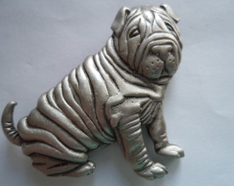 Vintage Signed JJ Silver pewter Shar Pei Dog Sitting Brooch/Pin