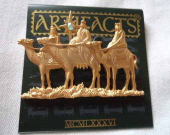Vintage Signed JJ Gold pewter The Three Wise Men following Star Brooch/Pin
