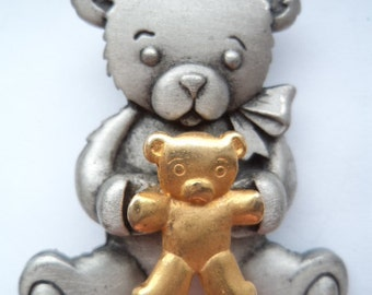 Vintage Signed JJ Silver pewter Teddybear holding Teddy Brooch/Pin
