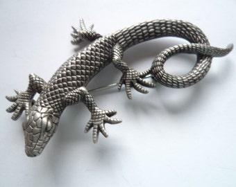 Vintage Signed JJ  Silver pewter Lizard Brooch/Pin