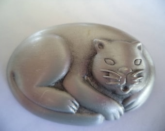 Vintage Signed JJ  Silver pewter Curled Up Cat Brooch/Pin