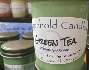 Green Tea 8oz Hand Poured Candle, Soy-Paraffin, Triple Scented