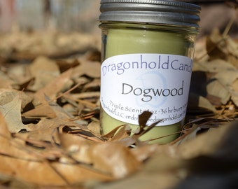 Dogwood 8oz Hand Poured Candle, Soy-Paraffin, Triple Scented