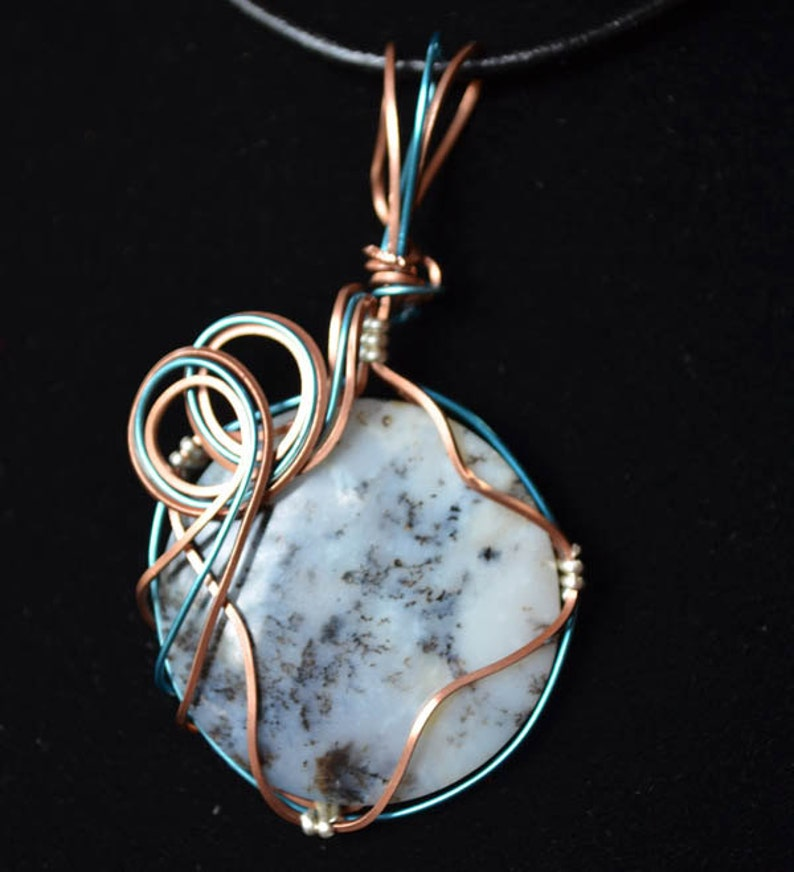 Copper and blue wire with wood opal JSP031 image 0