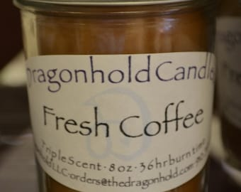 Fresh Coffee Candle: Hand Poured, Triple Scented Soy-Paraffin Candle