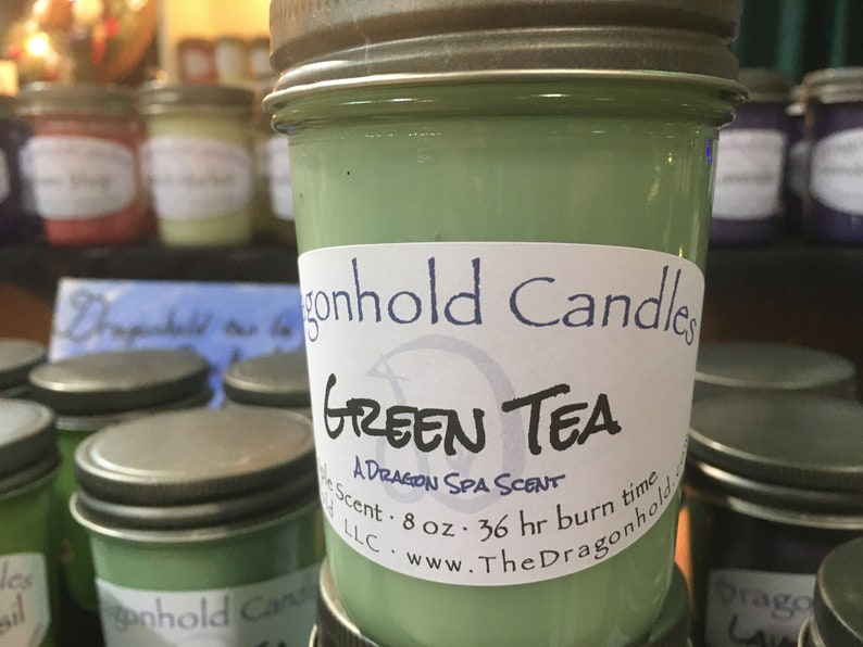 Green Tea 8oz Hand Poured Candle Soy-Paraffin Triple Scented image 0