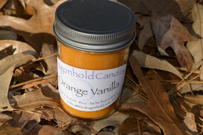 Orange Vanilla 8oz Hand Poured Candle Soy-Paraffin Triple image 0