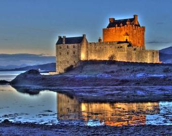 Eilean Donan Castle HDR , Eilean Donan Castle prints , Maximalism HDR    prints , Scottish castle prints ,Scotland print ,  Scotland gifts