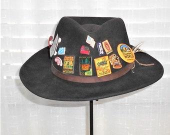 Vintage 100% Wool Felt Travel Distressed Explorer Traveler Fedora   Pins  Made in USA Medium e03d89ead476