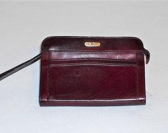351abb38af8d1 Vintage Distressed Aigner Oxblood Leather Wristlet Zip Clutch Wallet