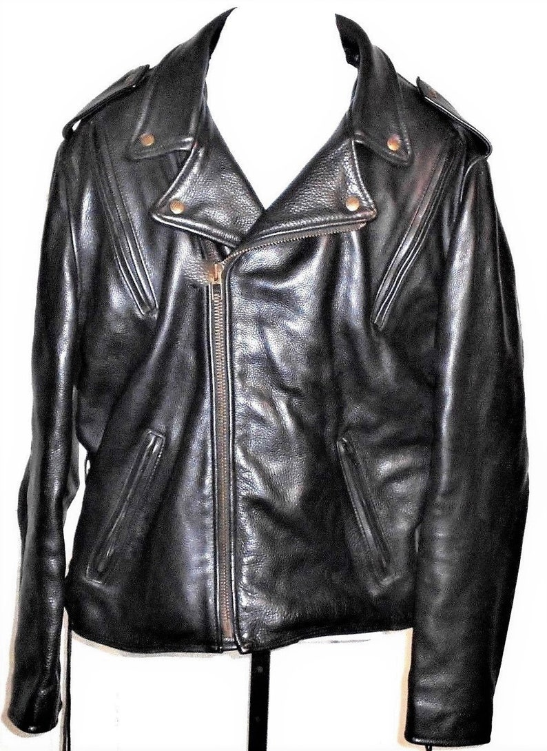 3b90aa8f63f8 Fox Creek Leather Vintage Men's 48 Made in USA Long Black Leather Lined  Motorcycle Riding Jacket