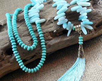 50% OFF!! AMAZONITE Gemstone Tassel Necklace   Amazonite, Magnesite, anti-tarnish brass fittings, handmade silk tassel   Gift   'Minty Mood'