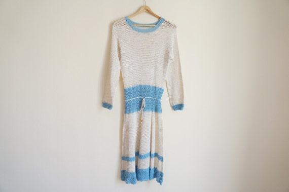 Handmade Crochet Dress / Vintage 1970s Crochet Dre
