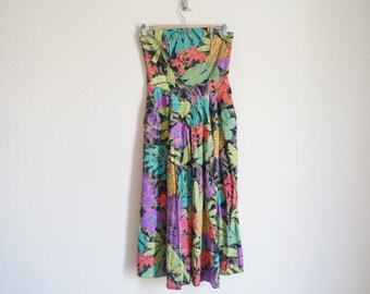 Vintage Strapless Floral Dress / Vintage Cotton Dress