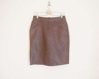 Vintage 1980s Brown Leather Skirt
