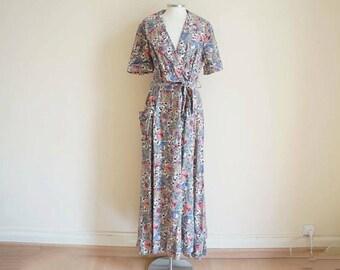 Vintage 1960 Dress / Vintage 60s Wrap Dress / Vintage Long Dress