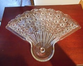 Anchor Hocking Daisy and Button Glass Fan Shaped Dish