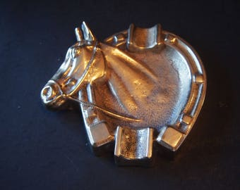 Brass Horse Head and Shoe Ashtray