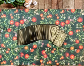 "Linen Altar Cloth ""Grove"" | dark floral orange print | Tarot Deck Wrap and Reading Cloth"