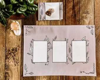"Linen Altar Cloth ""Hedge"" | three card tarot spread floral design | Tarot Deck Wrap and Reading Cloth"