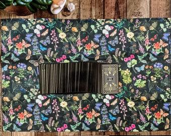 "Linen Altar Cloth ""Flutter"" | dark floral butterfly print | Tarot Deck Wrap and Reading Cloth"