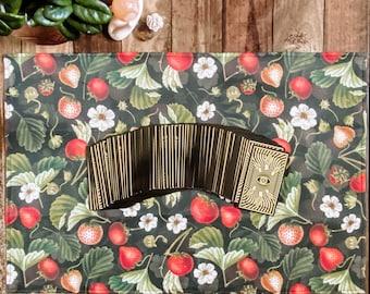 "Linen Altar Cloth ""Strawberry"" | dark floral strawberry print | Tarot Deck Wrap and Reading Cloth"