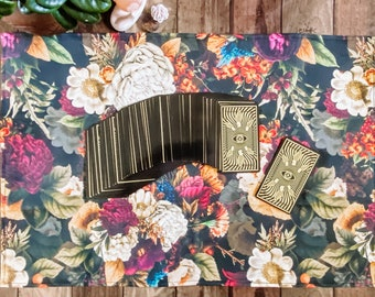 "Linen Altar Cloth ""Bouquet"" | dark floral print | Tarot Deck Wrap and Reading Cloth"