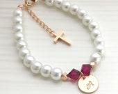 Baptism Bracelet, girls christening gift, catholic kids jewelry, baby birthstone cross bracelet, first communion gift, goddaughter gift