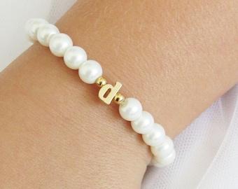 Flower Girl Gift , Gold Lowercase Initial Bracelet For Kids, Personalized Flower Girl Bracelet, Baby Child Infant Toddler Stretch Bracelet