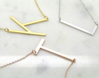 personalized necklace large initial necklace name letter necklace gifts for her initial jewelry big letter necklace bridesmaid gift
