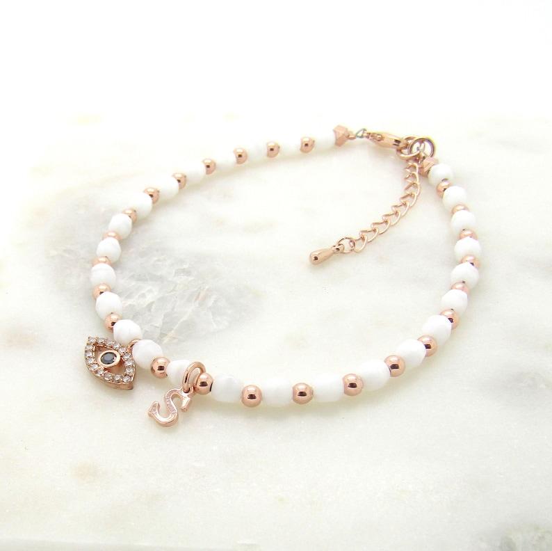 Rose Gold Evil Eye Bracelet-Evil Eye Jewelry-Beaded Evil Eye Bracelet-Evil Eye and Initial Bracelet-Greek Jewelry-Personalized Gifts For Her