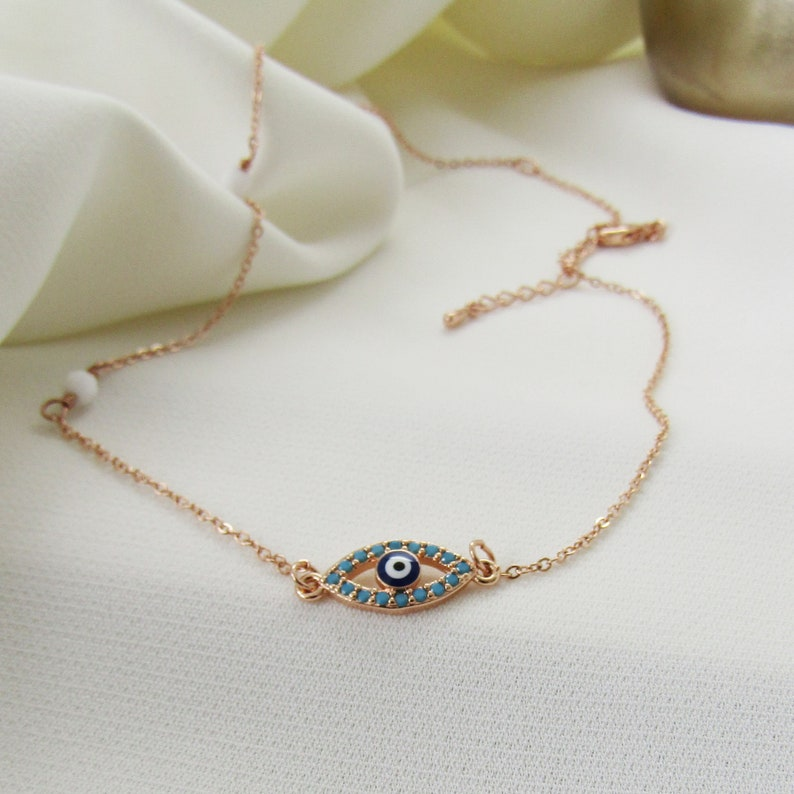 silver Evil Eye Choker Necklace rose gold or gold plated evil eye sideways evil eye necklace good luck gifts greek evil eye jewelry