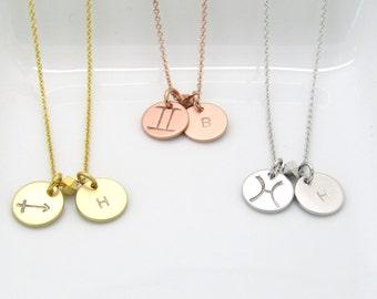 Personalized Zodiac Necklace- Zodiac Symbol Necklace- Starsign Necklace- Zodiac Jewelry-Silver Rose Gold or Gold Zodiac and Initial Necklace