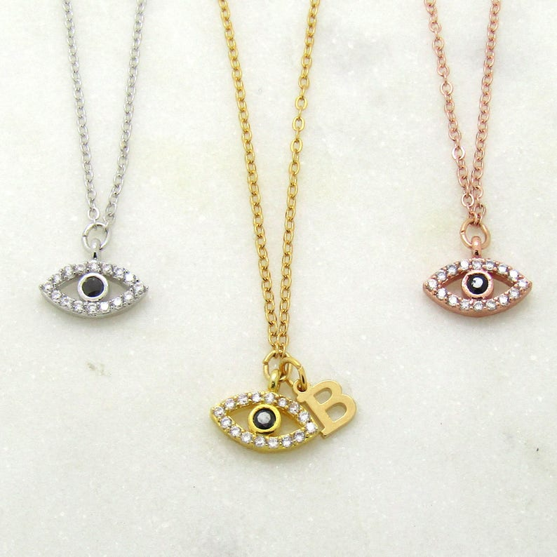 Evil Eye and Initial Choker-Personalized Evil Eye Necklace-Evil Eye Jewelry-Personalized Chokers-Women/'s Necklaces Gifts For Her-Lucky Eye
